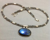 Natural Labradorite Necklace with sterling silver beads