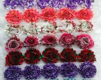 140 pcs Chiffon Frayed Flowers - Wholesale Shabby Rose trim -Shabby Flower Rose Trim - Prints-Fabric Flower Set  - Shabby Chic - Rose Trim