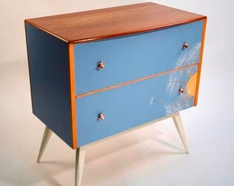 Professionally upcycled 1960's chest of drawers using laser cut formica