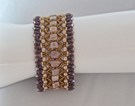 Raspberry and Bronze Tila Bracelet