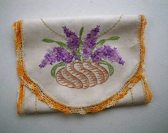 Hyacinth embroidered linen dresser scarf