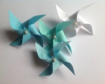 Wedding Boutonnières.  Set of 4 Paper Pinwheel Wedding Boutonnières.  Choose your colors!