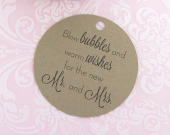 Wedding bubble tags (30) - Bubble tag - Kraft tag - Wedding gift tags - Wedding tag - Bubble label