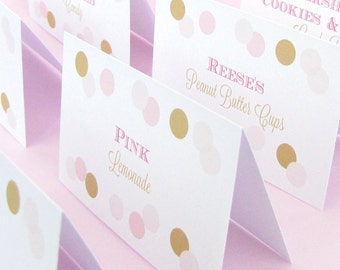 Candy buffet labels (6) - Wedding candy buffet - Party food labels - Food cards - Candy bar labels - Pink and gold - Party labels