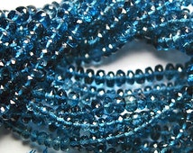AAA London Blue Topaz Rondelles -- 3-4mm - Set of 10
