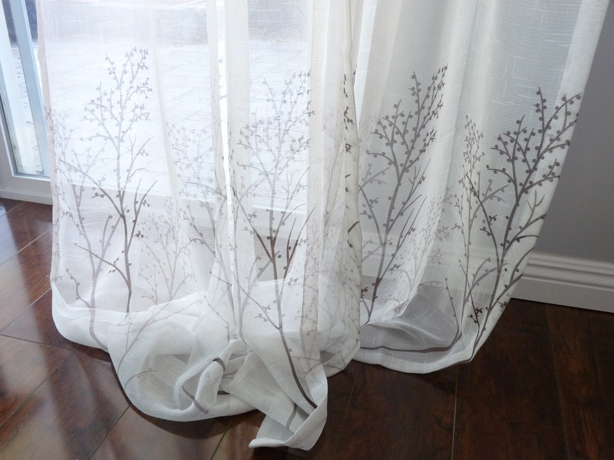 Off White Sheer Curtain Voile Panel With Printed Tree Pattern