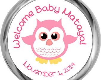 Custom Baby Shower Pink Owl Stickers - Personalized Girl Baby Shower Sticker, Girl Baby Shower Stickers