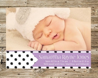 Black and White Circle with Lavender Flag Photo Birth Announcement