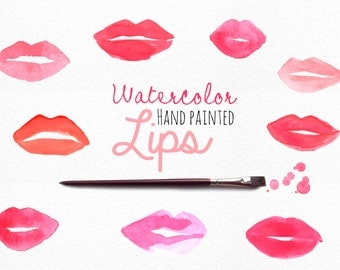 Watercolor Lips Clip Art - logo - personal or commercial
