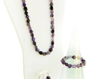 Faceted Amethyst Gemstone Necklace, Bracelet and Earrings Set.