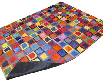 Cowhide Patchwork Rug. COLOR MULTIFORM! Amazing Design!. 4ft x 6ft