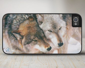 "Wolves iPhone 6 Case, Wolves iPhone 5s Case, Wolves iPhone 5 Case Protective Wolf Phone Case ""Cheek to Cheek"" 50-3161"