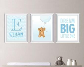 Baby Boy Nursery Art Print - Teddy Bear Nursery Art - Teddy Bear Bedroom Art. Bear Balloon Art. Teddy Bear Balloon Decor  (NS-690)