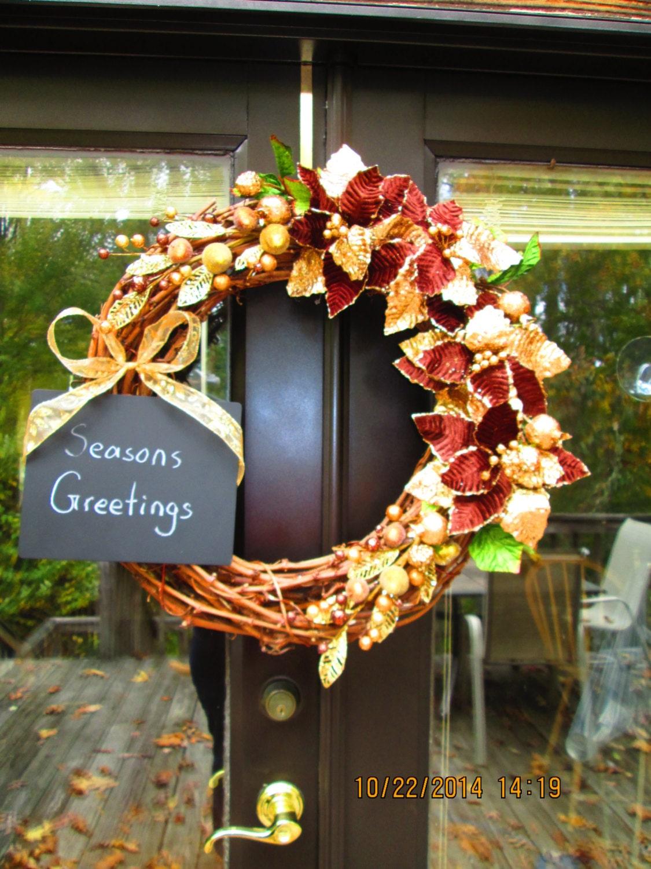 Gold and velvet poinsettia messageboard wreath