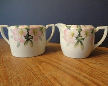 Nippon sugar and creamer with cherry blossoms