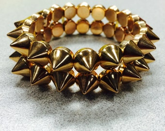 Rose spikes, Rose gold spiked bracelet, double stacked spike bracelet, rose gold