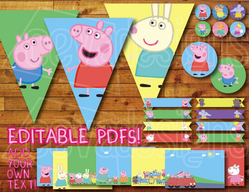 Printable Peppa Pig Birthday Party Decoration Instant Digital
