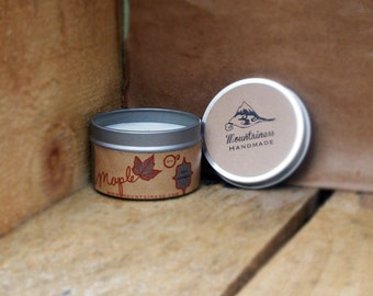 maple soy candle /  sweet soy candle tin / travel candle tin / clean burning / lead free / dye free / funk destroyer