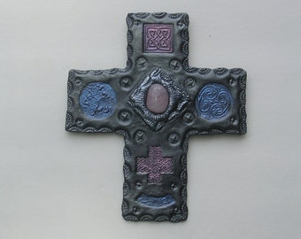 Unique Wall Cross with Celtic Symbols & Rose Quartz Gemstone
