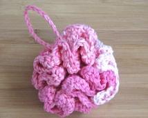 Pink Crochet Cotton Loofah.  Crochet Housewares. Shower Puff, Bath Loofah, bath scrubbie.  Pink Ombre.  Ready to Ship.  Item 701