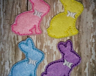 Set of 4 Girly Sitting Bunny Rabbit Easter Feltie Felties Embellishment Bow! Birthday Party Easter Bunny Chocolate Rabbit Planner Clip
