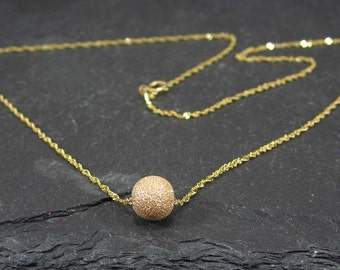 Solid 14K Gold Necklace | Solid 14K Gold Necklace with a Round Bead Pendant | Gold Beaded Necklace