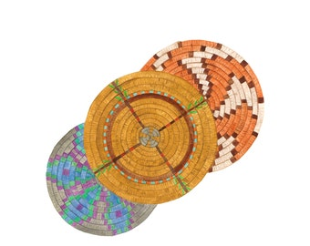 "Baskets, Native American Inspired Art , Fine Art Watercolor Print, Giclee archival print, basketry ""Triplets"""