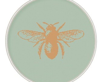 Bee Cross stitch pattern, cross stitch insect, cross stitch chart, cross stitch PDF, silhouette cross stitch, MCS009