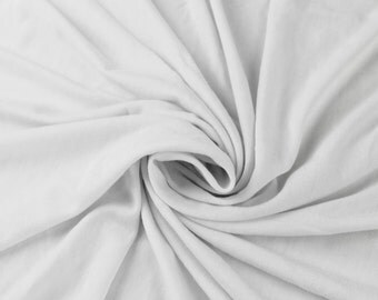 White Solid Cotton Spandex Jersey Knit Fabric 5042
