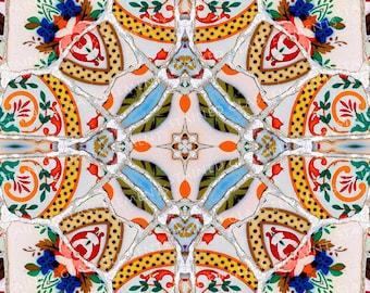 Ceramic transfer Gaudi, size 10 x 10cm (3.94 x 3.94 inch), firing temperature 1400-1562 ºF, ceramic decal tile, Gaudi ceramic deca, Gaudil