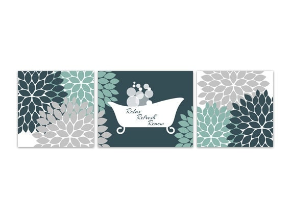 Bathroom wall art teal and grey bathroom decor relax refresh for Teal and grey bathroom sets