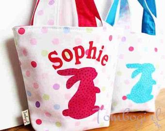 Kids Easter Bag / Easter Basket Tote, Personalised Easter Basket, Australian made, Bunny Rabbit –  Pink or Blue bag