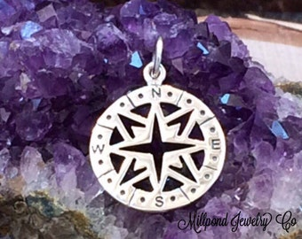 Compass Charm, Openwork Compass Charm, Sterling Silver Charm, Silver Compass, Necklace Charm, Nautical Charm, Nautical Pendant, PS01180