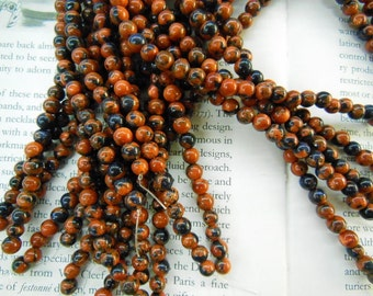 6mm goldstone round beads, sandstone beads, 15.5 inch