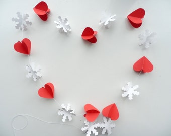 Winter wedding decoration, Christmas decoration,3 D White Snowflake and red hearts garland