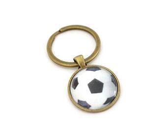 FOOTBALL BALL Key Ring •  Soccor Ball •  Bronze Gift for Him •  Sports Fan Gift •  Gift Under 20 • Made in Australia (P1100)