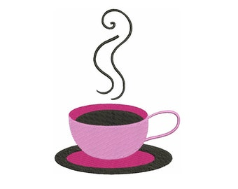Coffee Cup Filled Machine Embroidery Digitized Design Design Pattern  - Instant Download - 4x4 , 5x7, and 6x10 -hoops