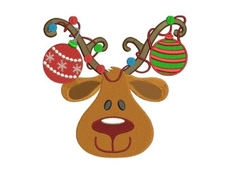 Red Nose Reindeer Christmas Filled Machine Embroidery Digitized Design Pattern - instant download - 4x4 , 5x7, and 6x10 -hoops