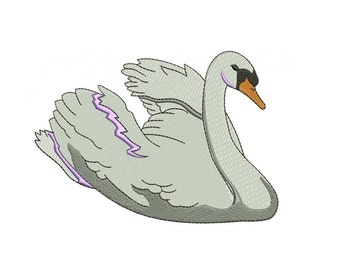 Swan Filled Digitized Machine Embroidery Design Pattern - Instant Download - 4x4 , 5x7, 6x10