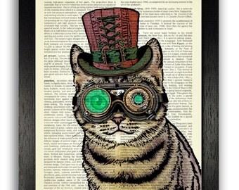 STEAMPUNK ART PRINT, Steampunk Cat Decor, Steampunk Decor, Cat Art Print on Dictionary Paper, Cat Wall Art Poster Decor, Gift for Boyfriend