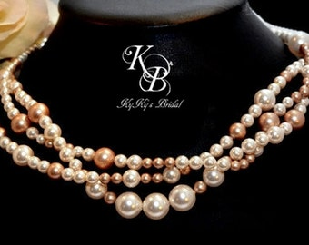 Multi Strand Pearl Necklace, Bridal Necklace, Choose Your Color, Bridesmaid Necklace, Pearl Necklace, Mother of the Bride, Bridal Jewelry