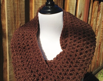 Chunky Brown Infinity Scarf; Bulky Brown Infinity Scarf; Chunky Winter Circle Scarf; Winter Circle Scarf