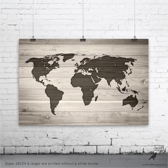 World map poster world map on digital wood background large like this item gumiabroncs Choice Image
