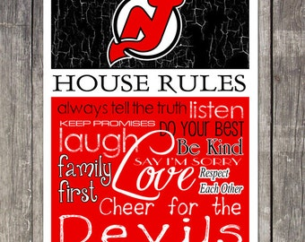 NEW JERSEY DEVILS House Rules Art Print