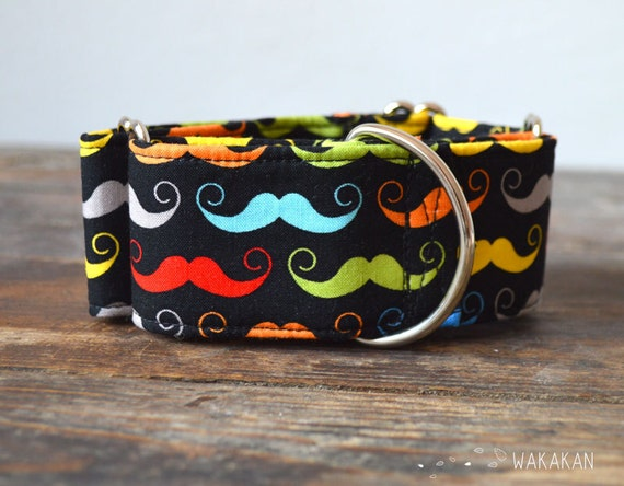 Martingale dog collar model Funky Moustache. Adjustable and handmade with 100% cotton fabric. rainbow moustaches Wakakan