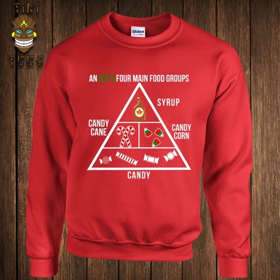 Funny Christmas Hoodie Buddy The Elf Hooded Sweater Sweatshirt An Elf's Four Main Food Groups Vacation Movie Holiday Gift Xmas Merry Santa
