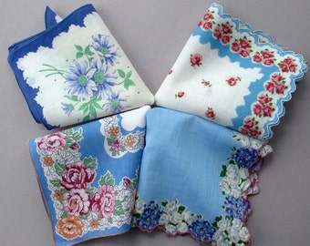 Four Blue Floral Cotton Vintage Handkerchiefs Hankies