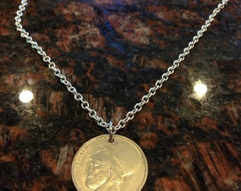 Greece 20 drachma coin necklace