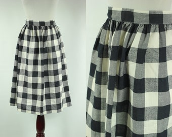 70s Black 'n' White Checkered High-waisted A-line Skirt