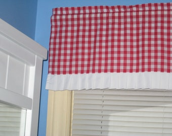 """LINED GINGHAM CHECKED With white Trim 1"""" 1/2"""" 1/4"""" 1/8"""" square Red White window Curtain Valance"""
